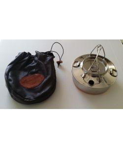 Kaffekjele 0,7 L, rustfri, med oppbevaringspose av elgskinn (frakt inkl.)